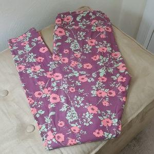 LuLaRoe leggings, purple w/coral pink floral
